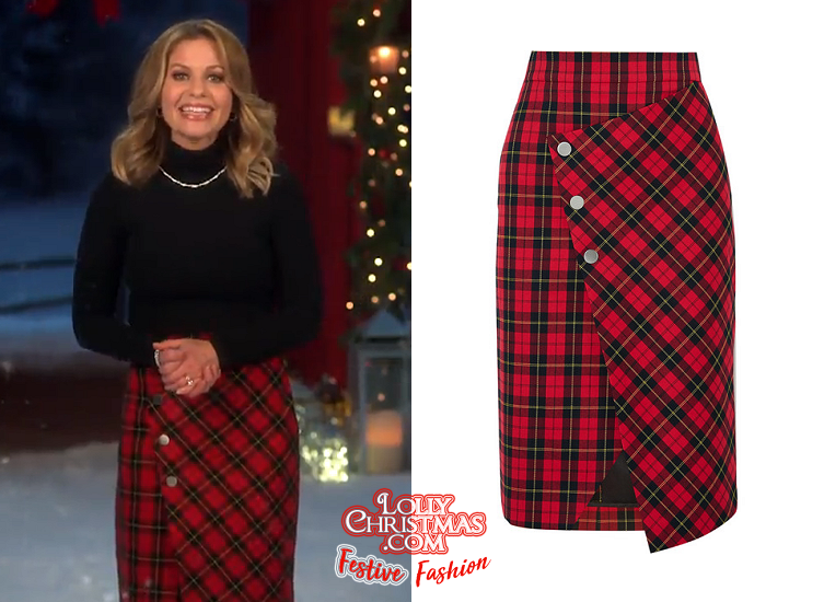 Festive Fashion Candace Cameron Bure S Plaid Skirt From Hallmark S 7 Night Thanksgiving Movie Event Promo Lollychristmas Com